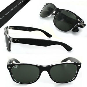 c054d346e4bfc New RAY-BAN New Wayfarer RB 2132 6052 Black Clear w G-15 Green 52 mm ...