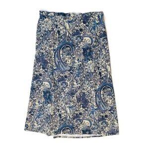 Denim-amp-Co-Plus-Size-1X-Maxi-Skirt-Linen-Blend-Floral-Print-Stretch