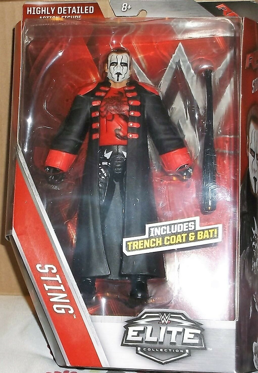 2016 Mattel WWE Raw Elite Collection Sting with Trench Trench Trench Coat & Bat 6 inch Wrestli 65ce45