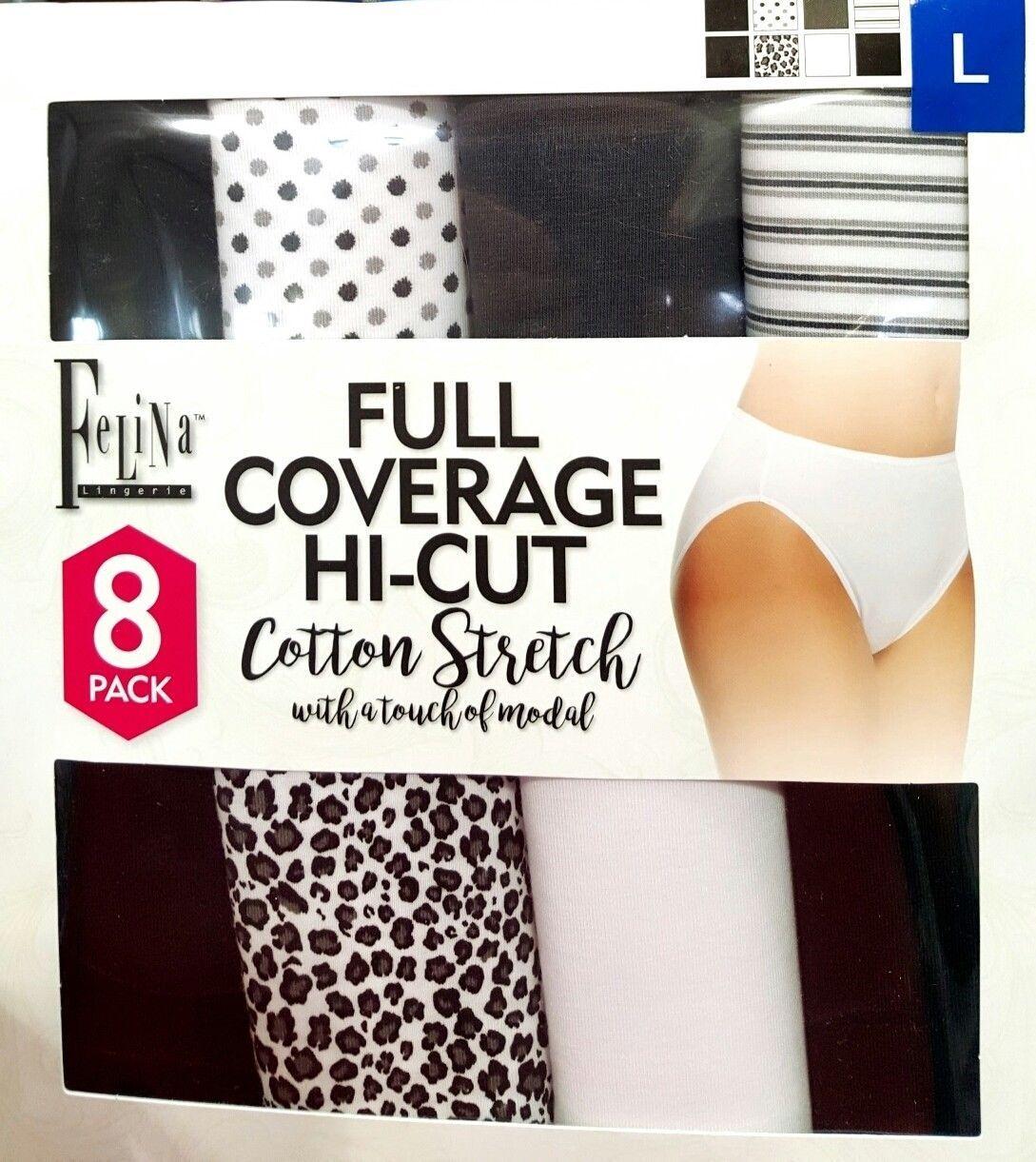 New Women Ladies Felina Cotton Stretch 6 Pack Hi Cut Bikini Underwear S M L XL