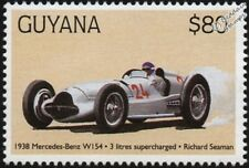 1938 MERCEDES-BENZ W154 (Richard Seaman) F1 GP Racing Car Stamp (1998 Guyana)