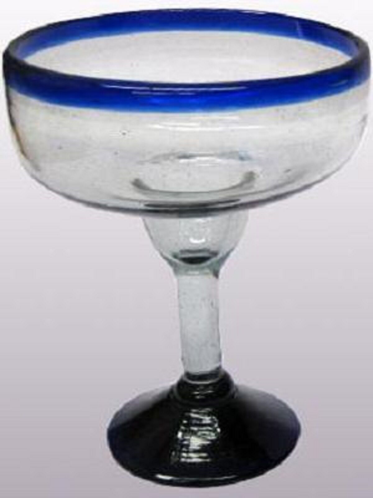 Mexican Glassware - Cobalt bluee Rim large margarita glasses (set of 6)
