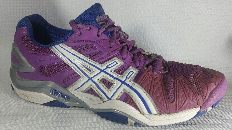 Asics E350Y Gel-Resolution 7.5 5 Tennis Schuhes Damenschuhe 7.5 Gel-Resolution M Grape Weiß Silver Casual 09e0b5