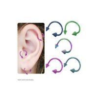 Titanium Cartilage Twister Ring With Spike Beads