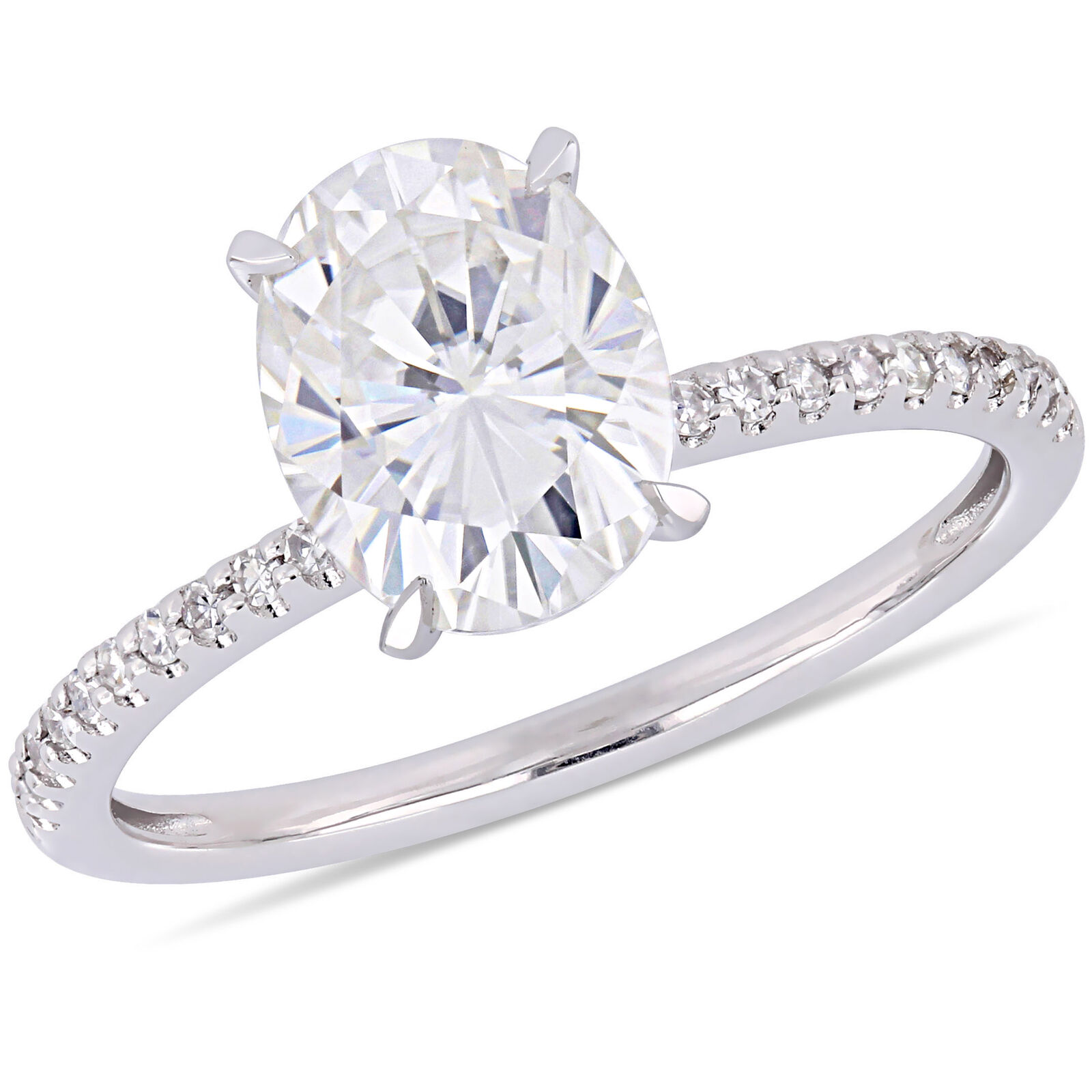 Moissanite 14KW Diamond Solitaire Engagement Ring