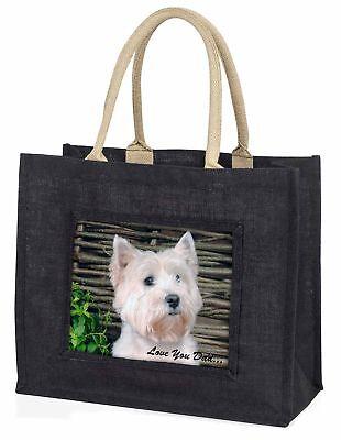 Westie Hund' liebe Dich Papa' große schwarze Einkaufstasche Weihnachtsgeschenk,