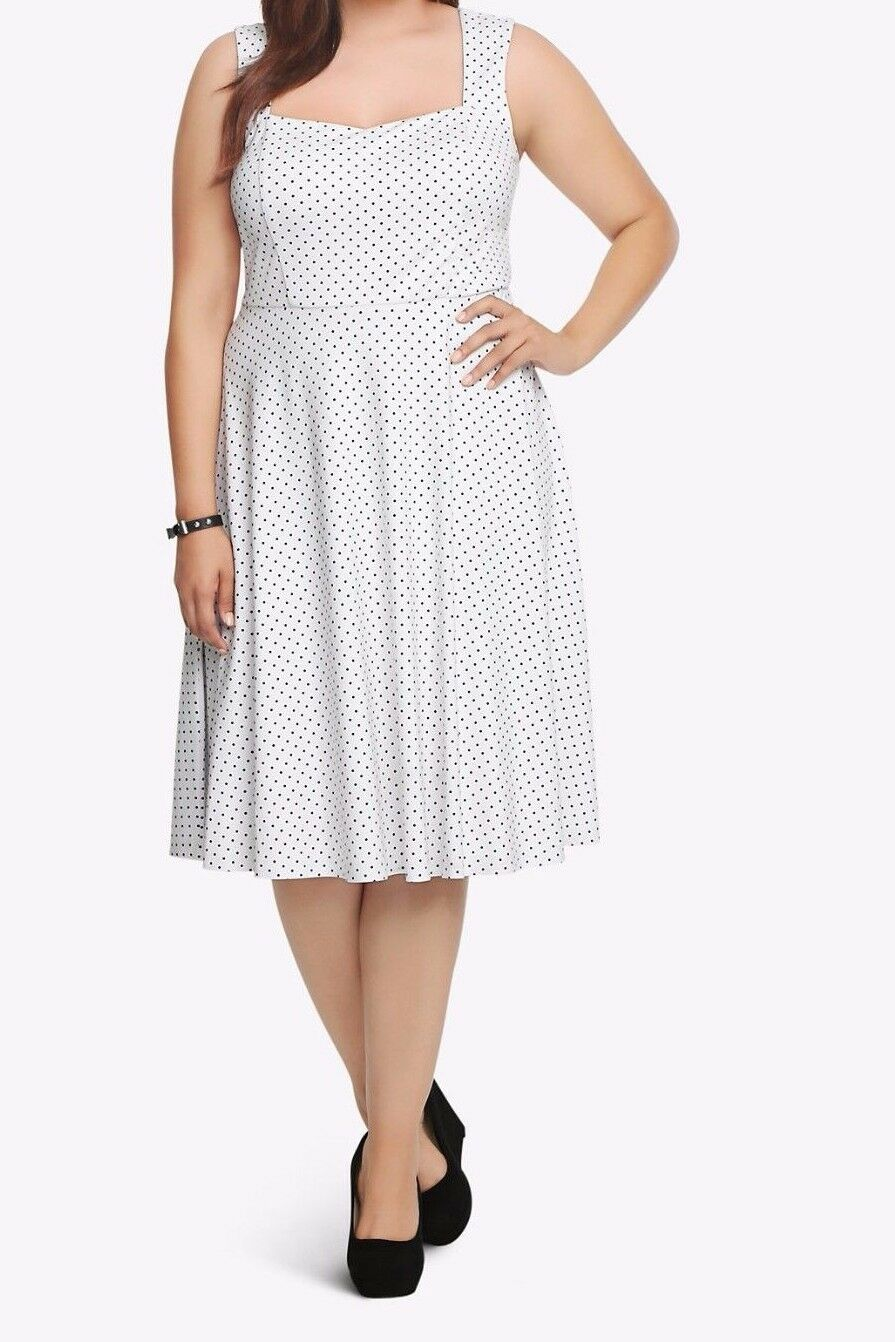Torrid Weiß schwarz Polka Dot Knit Swing Sweetheart Dress Sz 16