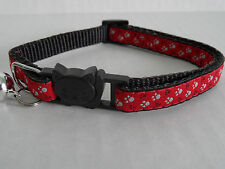 Red Footprint Cat Collar, Cat Safety Collar with Bell, Quick Release Collar