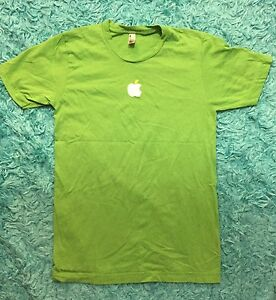 af98566b1 American Apparel Mens Small S Mac Green White Apple Logo Graphic T ...