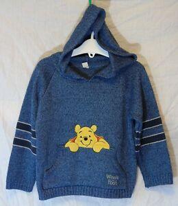 Boys-Winnie-The-Pooh-Slate-Blue-Pocket-Front-Hooded-Hoodie-Jumper-Age-3-Years