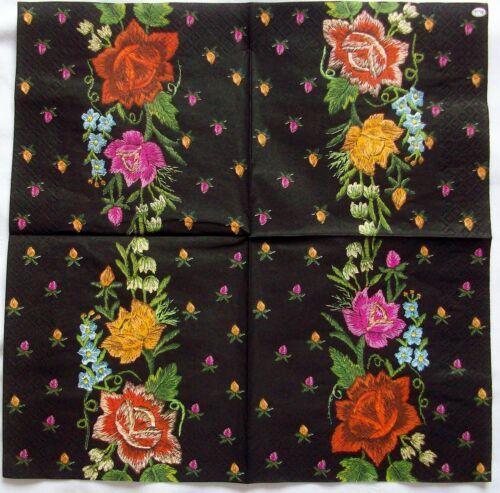 20 Servietten in OVP Maki Bunte Blumen auf schwarz