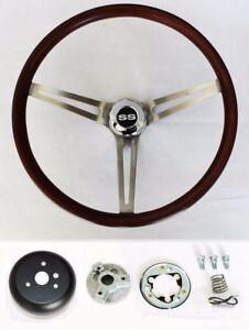Chevelle-Impala-Nova-El-Camino-Low-Gloss-Finish-Wood-Steering-Wheel-15-034-SS-Cap