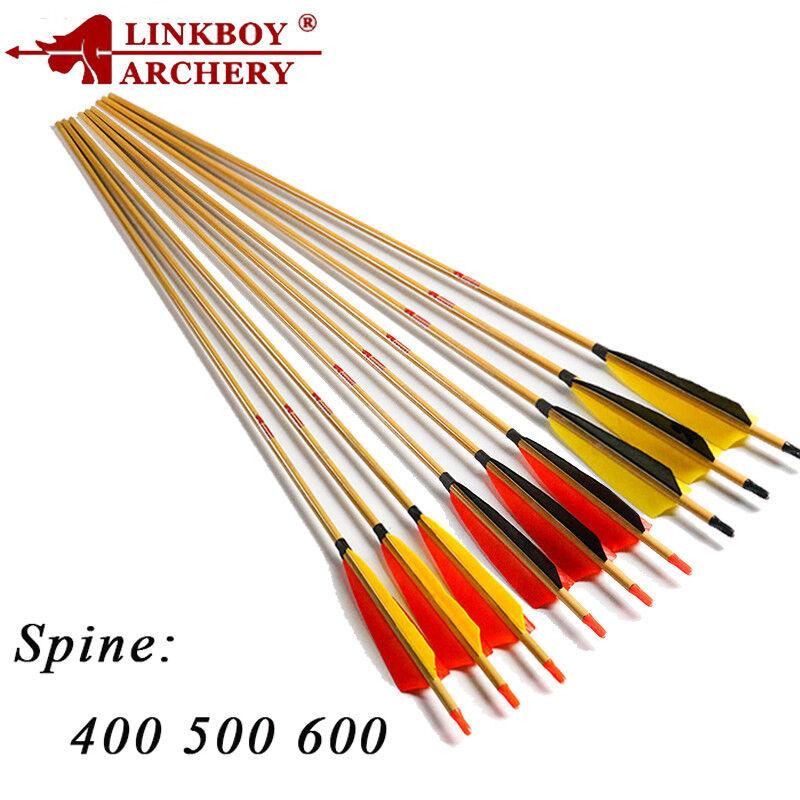 12PC Bogenschießen Carbon Pfeile Spine400-600 Recurvebogen Compoundbogen Arrows