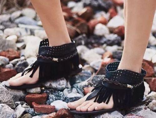 Free People Tribal Inspired Journey Through Time Black Fringe Sandals EU 36 5.5