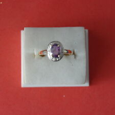 BEAUTIFUL 9KT YELLOW GOLD WITH NATURAL AMETHYST& DIAMOND RING SIZE O IN GIFT BOX