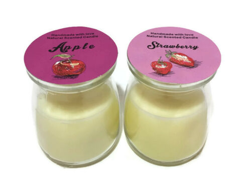 Natural Bougie parfumée pot Handmade with Love Apple /& fraise dans bocal en verre