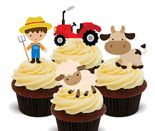 Farm Animals Edible Cupcake Toppers - Stand-up Fairy Cake Decorations, Birthday