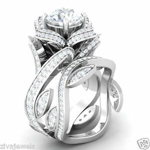 Certified Flower Lotus White Diamond 14K White Gold Engagement