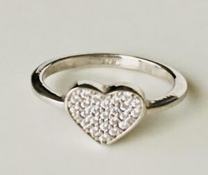 925-Sterling-Silver-Love-Heart-Ring-Pave-Cubic-Zirconia-CZ-Size-US-5-6-7-8-9