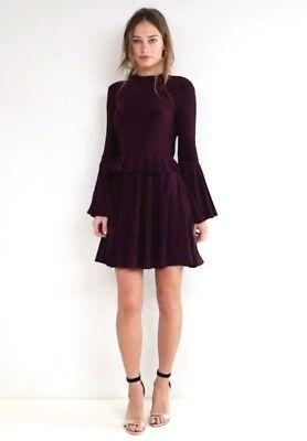 b0015e7f3435 Asos Slinky Backless Ruffle Skater Dress UK 18 Long Sleeve Dark Purple  Blackbery