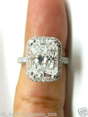 2.50 CT RADIANT CUT SOLITAIRE ENGAGEMENT RING SOLID 14KT WHITE GOLD