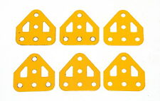 Six Meccano Part 126a Flat Trunnion UK Yellow Original