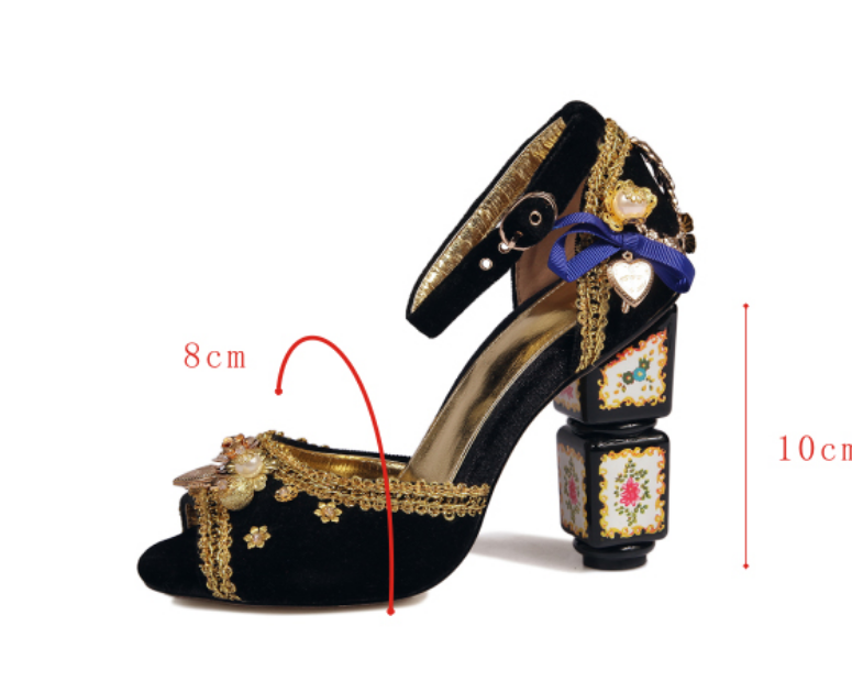 Ladies Peep Toe Decor Beads Ankle Strap Special High Heel Royal shoes US11 Vogue