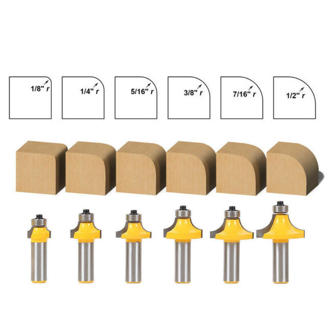 "6Pcs 1/2"" Shank Round Over Edging Router Bit Set 1/2""1/8"" 1/4"" 5/16"" 3/8"" 7/16"""