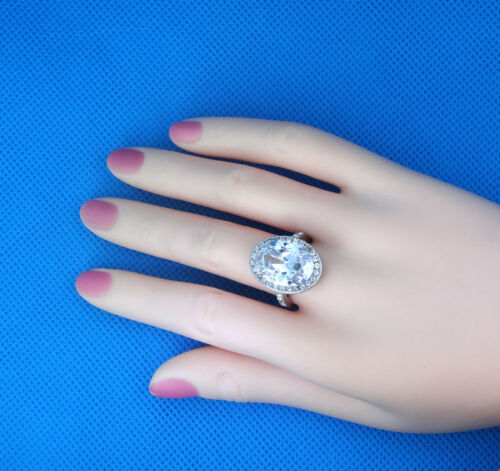 Ladies Large Oval Shape Engagement Silver Stainless Steel Ring New