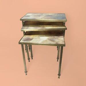 Nesting-Tables-Gigognes-Annees-50-Laiton-Maison-Jansen-Hollywood-Regency-Bagues