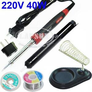 40W-Electric-Soldering-Iron-Kit-Stand-Desoldering-Pump-Sucker-Solder-AU-Adapter