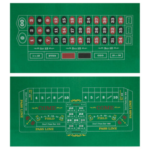 """Double-Sided Craps Table /& Roulette Casino Felt36/"""" x 18/"""" Roll-Up Casino Mat"""