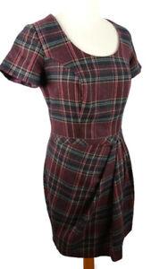 Pepperberry-10-Really-Curvy-Red-Purple-Tartan-Check-Short-Sleeve-Wool-Mix-Dress