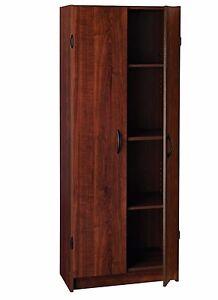 Attirant Details About Kitchen Pantry Cabinet Storage Wood Dark Cherry Organizer 2  Doors And 4 Shelves