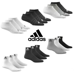 Adidas-Calcetines-3-Pares-Hombre-Mujer-Tobillo-Interior-Cuarto-Deportes-Algodon