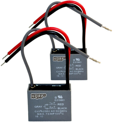 2-Pack HQRP Replacement Capacitor for Hampton Bay Fan 1uF+2uF 3-Wire CBB61