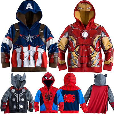 Boys Hoodies Superhero Man Thor Spiderman Sweatshirt For Kid Cartoon Jacket Coat