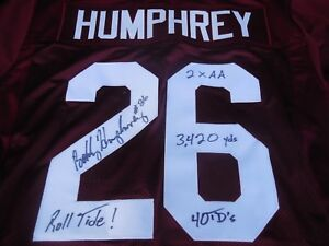 cheap for discount 1a494 8f6a3 Details about Bobby Humphrey signed Alabama Crimson Tide jersey w/ career  stats Roll Tide COA