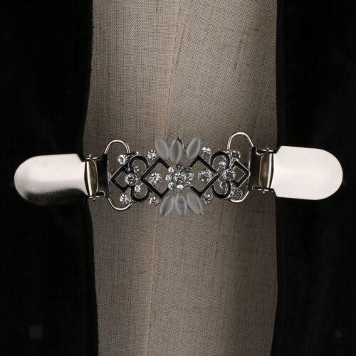 Vintage Crystal Flower Cardigan Clip Shawl Shrug Sweater Blouse Collar Clasp