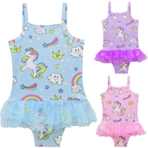 Kinder Mädchen Einhorn Bademode Badeanzug Monokini Schwimmanzug Baden Bikini Set