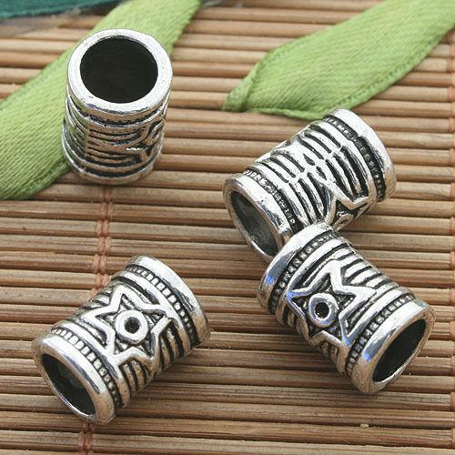 12pcs dark silver tone tube spacer beads h3235