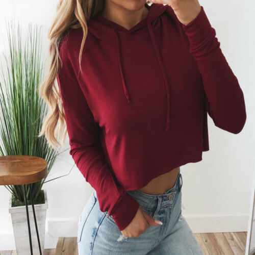 Spring Women Hoodie Jumper Crop Top Solid Color Sports Pullover Casual Tops 6A