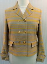 NEW NWOT Talbots Yellow Beige Tan Striped Suit Jacket Blazer Women's 12