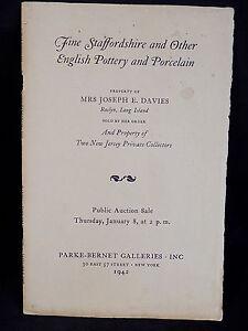 Antique Auction Catalog Parke Bernet Galleries Ny 1942 Staffordshire Pottery Ebay