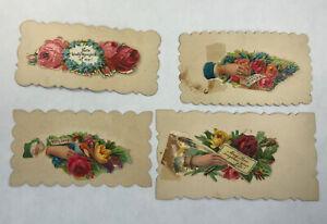 Victorian-Die-Cut-Scrap-HIDDEN-NAME-Message-Calling-Card-Lot-of-4-Samples
