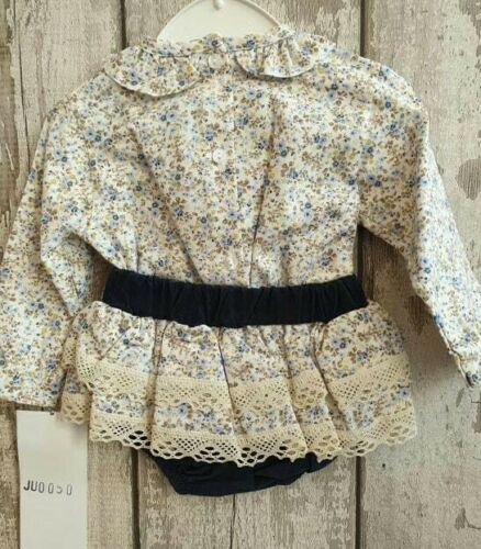Outfit Spanish Style Baby Girl Navy and Floral Jam Pants and Top Set