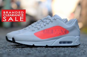 BNIB NEW MEN NIKE AIR MAX 90 NS GPX NEUTRAL GREY CRIMSON BIG LOGO SIZE 8 9 UK