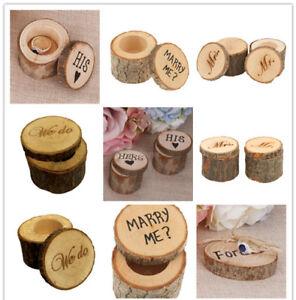 Image Is Loading Rustic Wedding Engagement Ring Box Bearer Custom Wooden