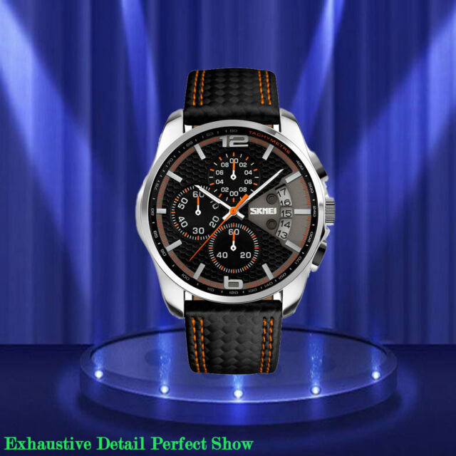 Men's Watch Stainless Steel Case Quartz Dial Diver Black Leather Fashion Watches