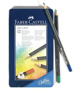 Faber-Castell-Artgrip-Colour-Pencils-12-NEW-Top-Quality-Colouring-in-metal-case